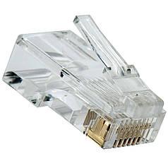 Разъем RG-45 (8p8c) Коннектор сетевой 8р8с RG-45 для кабеля UTP Наконечник ЮТП Упаковка 100 штук Штекер комп