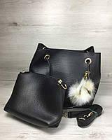 Черная женская сумка-мешок с клатчем 55024 мягкая с длинными ручками, фото 1