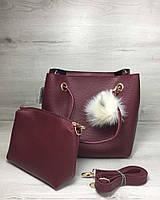 Бордовая сумка с клатчем 55027 мягкая с длинными ручками, фото 1