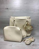 Бежевая женская сумка-мешок с клатчем 55029 мягкая с длинными ручками и пушком, фото 1