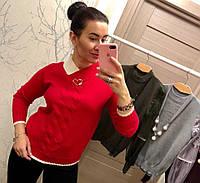 Женский эффектный свитер с узорами (2 цвета), фото 1
