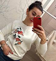 Женский модный свитер с вышивкой (2 цвета), фото 1