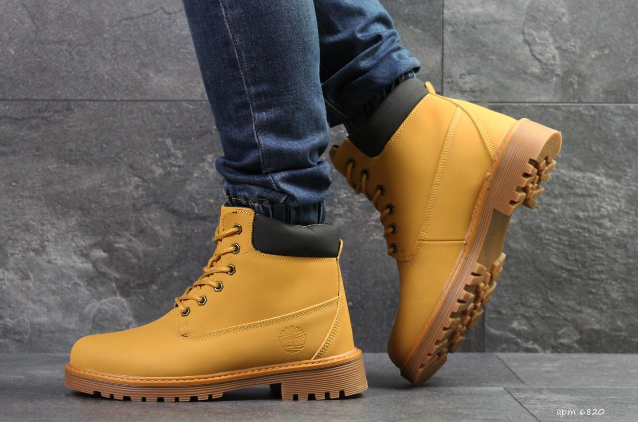 Мужские зимние ботинки Timberland горчичные,на меху 45р