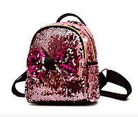 Рюкзак детский с пайетками и бантом Giaopixiong Розовый