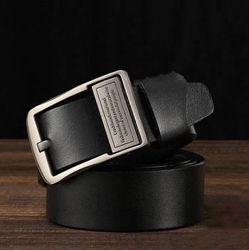 Кожаный ремень мужской из натуральной кожи. Мужской ремень пояс для джинсов DWTS Черный