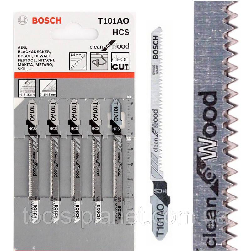 Пилка для лобзика Bosch T 101 AO, HCS 5 шт/упак.