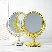 Косметическое двойное зеркало настольное, круглое