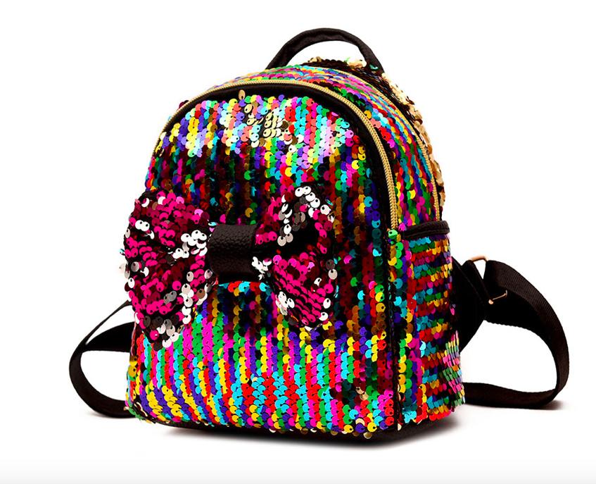 Рюкзак женский с пайетками и бантом Giaopixiong Цветной