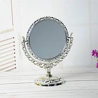 Косметическое двойное зеркало настольное, круглое, 27 см, фото 1