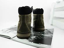 Мужские ботинки на меху Timberland цвета хаки топ реплика, фото 3