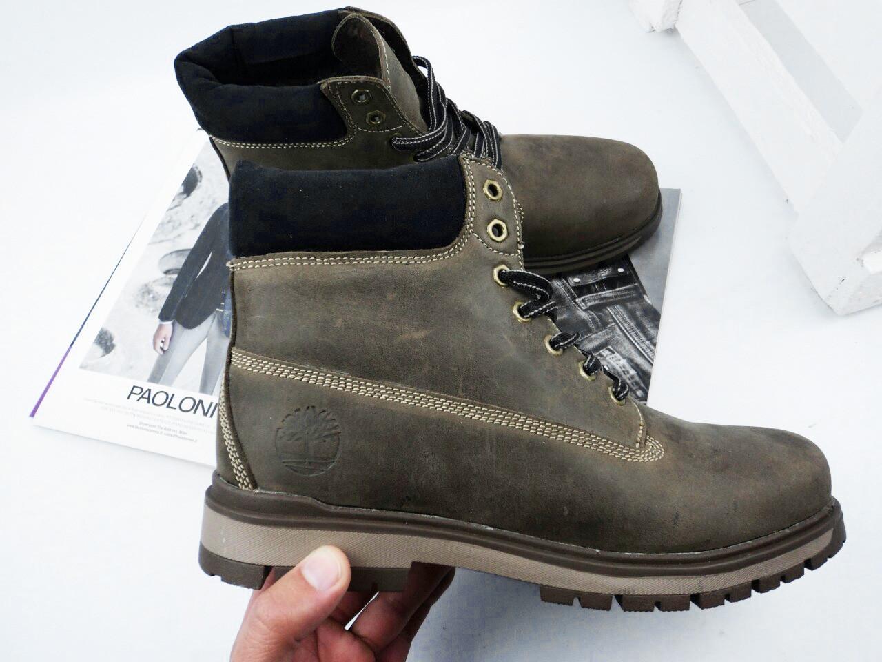 Мужские ботинки на меху Timberland цвета хаки топ реплика