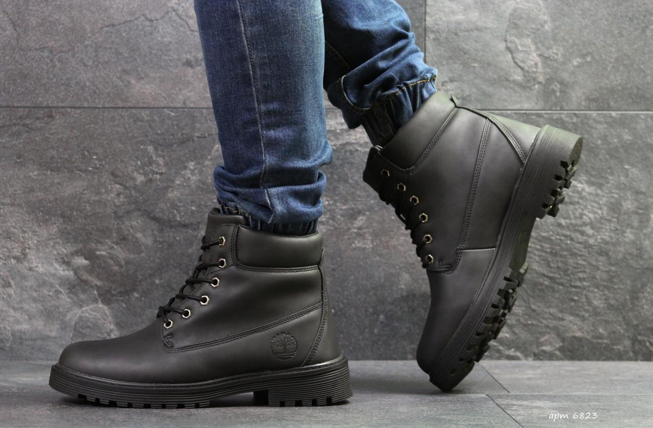 Чоловічі зимові черевики Timberland чорні,на хутрі