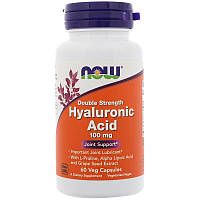 NOW Hyaluronic Acid 100 mg double strength 60 veg caps, НАУ Хиалуроновая Кислота 100 мг 60 капсул