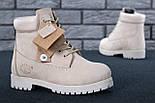 Зимние женские ботинки Timberland 6 inch бежевые с натуральным мехом (Реплика ААА+), фото 5