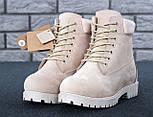 Зимние женские ботинки Timberland 6 inch бежевые с натуральным мехом (Реплика ААА+), фото 10