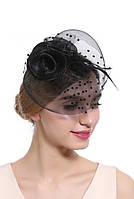 Женская черная шляпка с вуалью А-1058