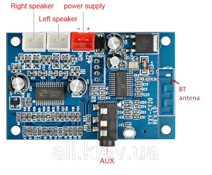 Усилитель звука 2*15Вт с Bluetooth 4.2 CS8618 DC5 -24V  плата