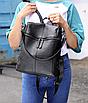 Рюкзак женский сумка кожзам с заклепками Vanesa Черный, фото 8
