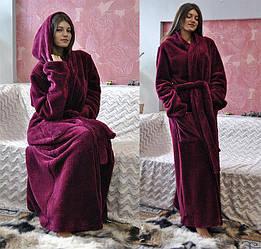Халаты махровые женские с карманом и капюшоном.