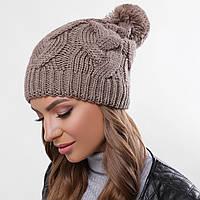 Вязаная женская шапка с помпоном теплая, фото 1