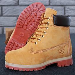 Зимние женские ботинки Timberland classic 6 inch Yellow с натуральным мехом. Топ реплика