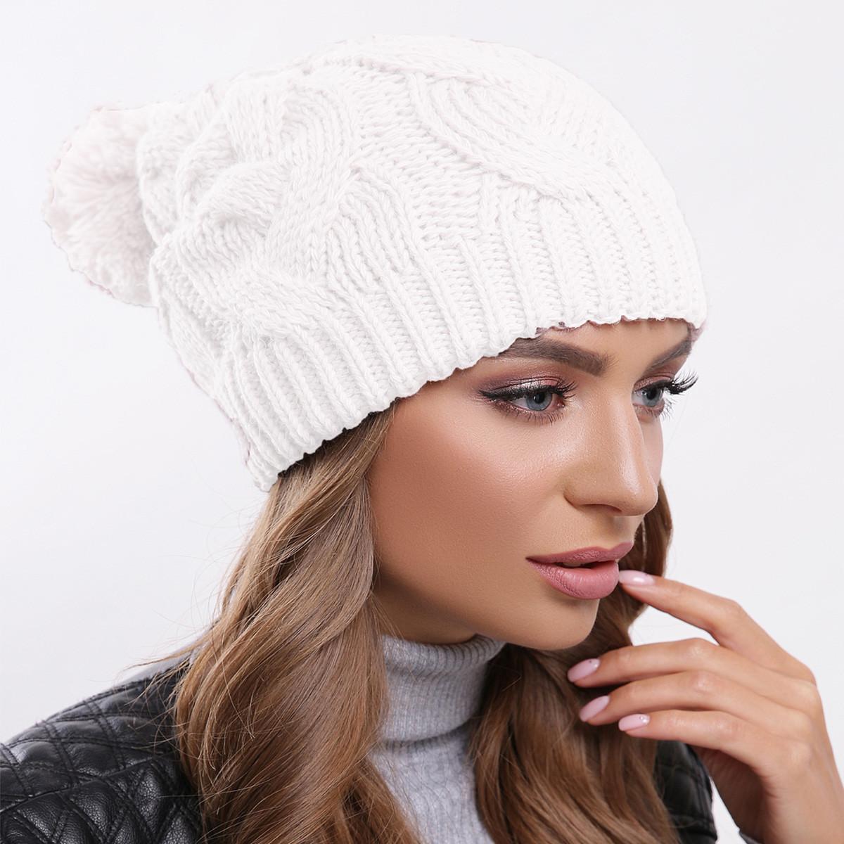Молочная вязаная шапка теплая, зимняя