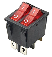 KCD6-201N 2х клавишный 6ти контактный с подсветкой