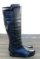 Кожаные женские сапоги черного цвета на низком ходу, фото 1