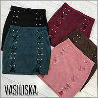 Женская модная юбка замшевая (расцветки), фото 1