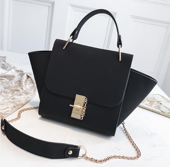 Вместительная сумка с ушками / застежка в стиле Хлое (0400) Черный