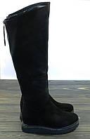 Замшевые ботфорты на танкетке черные Fabio Monelli