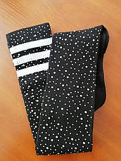 Гетры со стразами чёрные с белыми полосами -315-01-4, фото 2