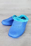 Галоши женские на меху без задника дефект помятость 36\37 0909 голубые