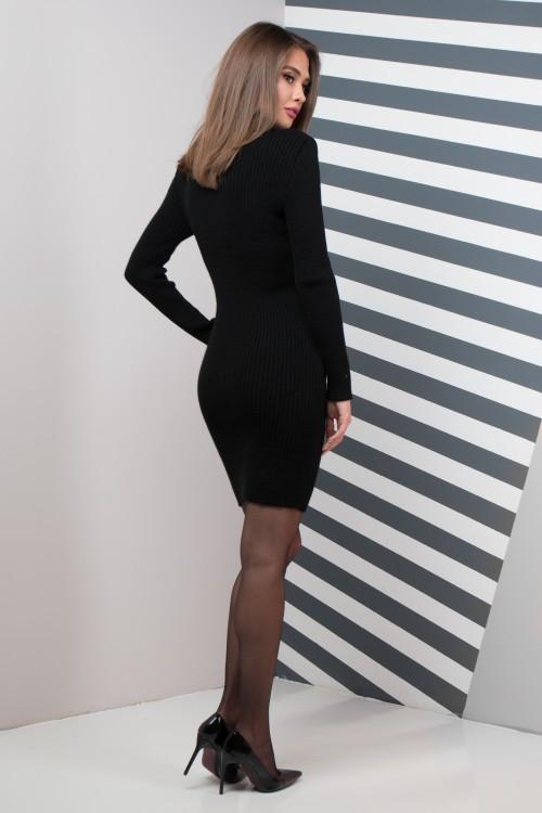 Женское платье приталенное Basic черное