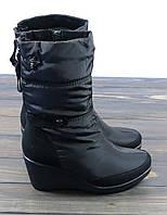 Короткие зимние сапоги на танкетке черного цвета Prima D'arte, фото 1
