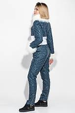 Комбинезон женский с мехом на рукавах и воротнике 69PD1066 (Темно-синий - белый), фото 2
