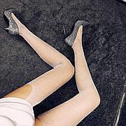 Колготы-чулки со стразами белые- 315-04-1