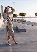 Женское платье миди с вышивкой на рукавах и растительным орнаментом, фото 1