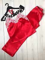Красная пижама штаны и майка с белым кружевом