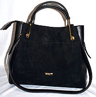 Женская черная сумка B Elit из натуральной замши с лаковым клатчем внутри  28*24 см