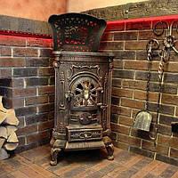 Камин печь печка буржуйка чугунная Bonro Gold 9 кВт под бронзу Топка