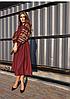 Женское вышитое платье средней длины бордового цвета