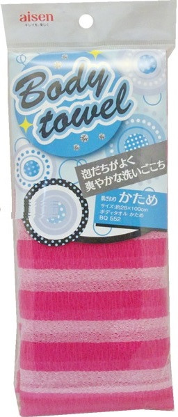Массажная мочалка AISEN жесткая розовая в полоску 28х100 см (255561)