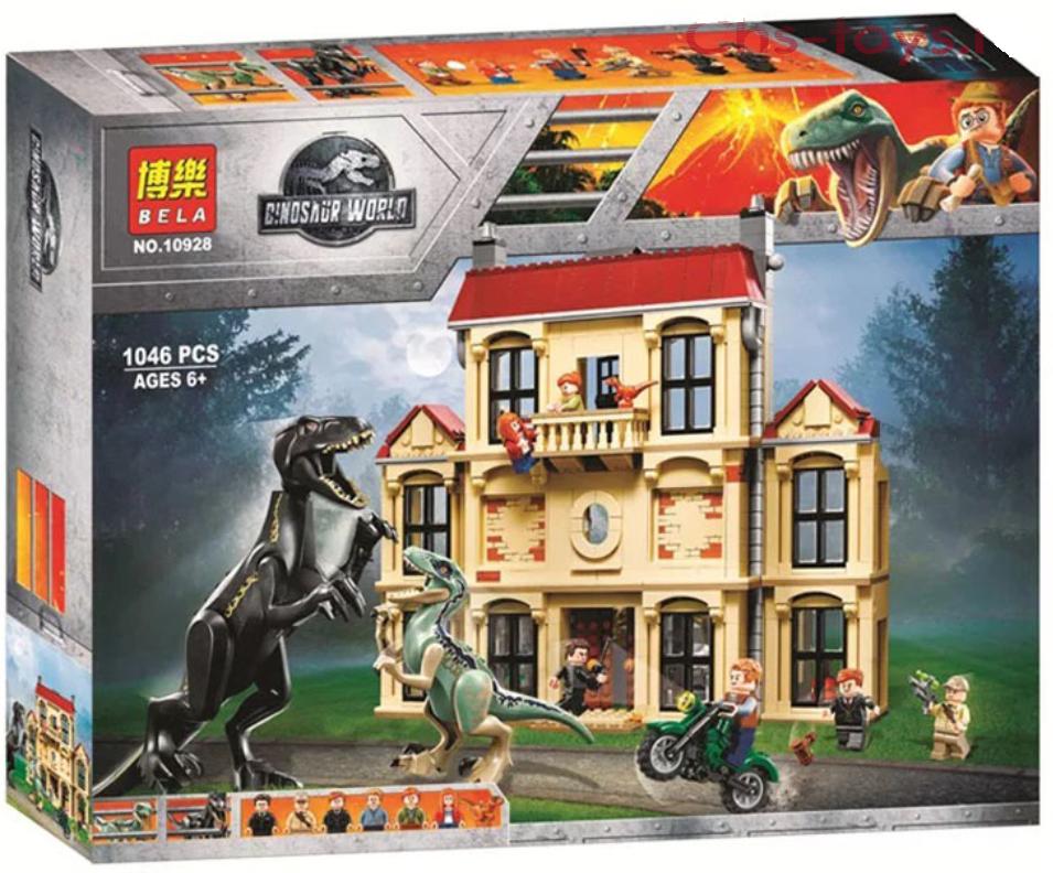 Конструктор Bela 10928 Нападение Индораптора в поместье Локвуд (реплика Lego Jurassic World 75930), 1046 дет