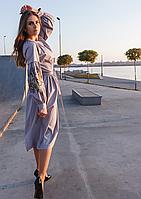 Серое платье миди свободного кроя с вышивкой на рукавах, фото 1