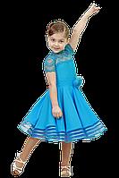 Рейтинговое платье для танцев (бейсик) голубое