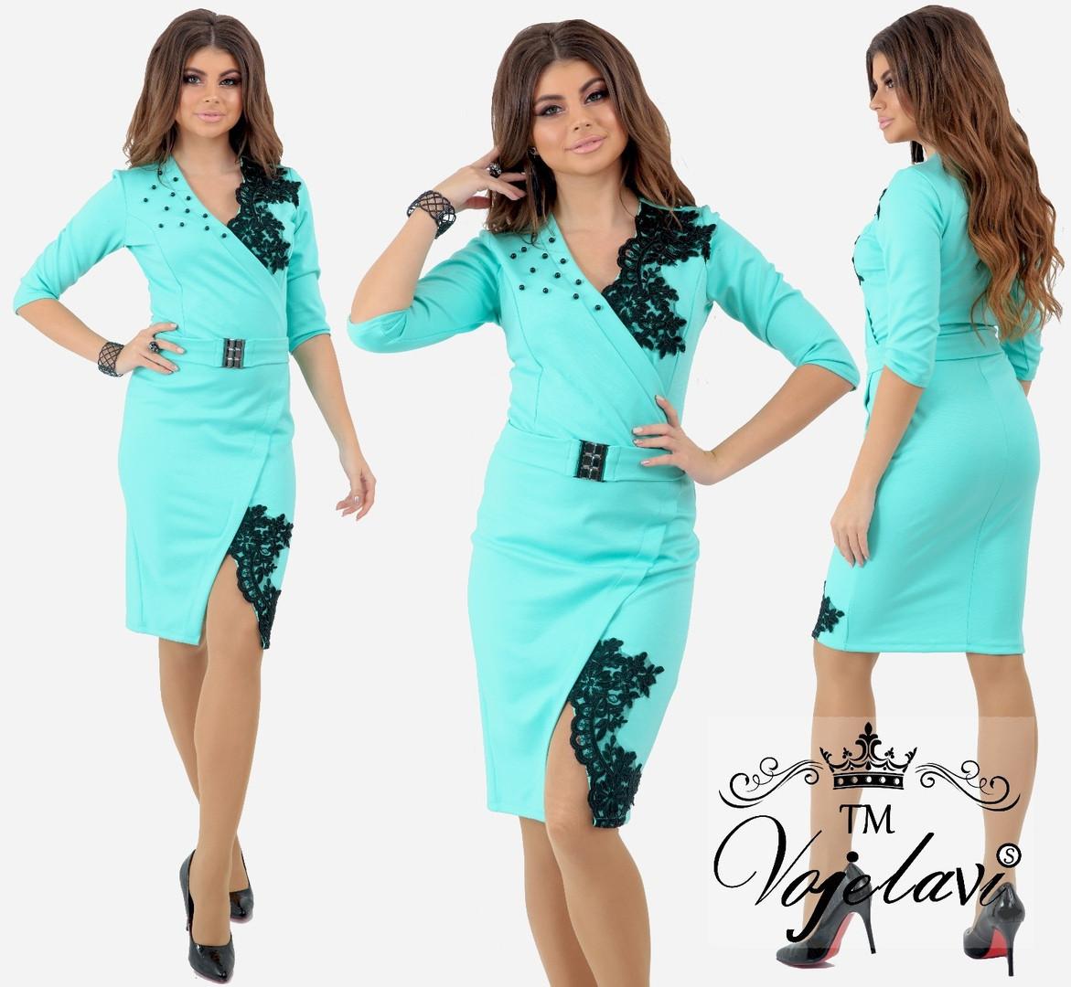 b252ac63361 Элегантное женское платье декор кружево+жемчуг (4расцв) - Интернет-магазин