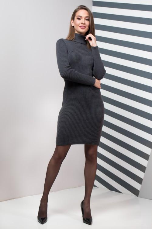 Жіноча сукня  приталена Basic  (графіт)