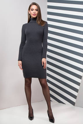 Жіноча сукня  приталена Basic  (графіт), фото 2
