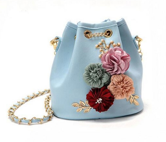 Сумка женская через плечо с цветами Flowers Голубой